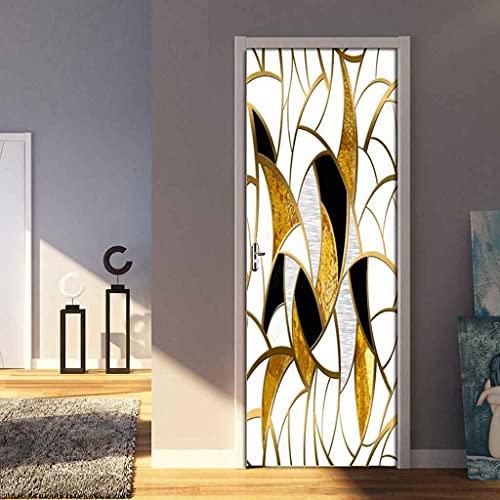 NXCNTD 3D Mural para Puerta Arte de línea dorada 77x200cm Autoadhesivo Impermeable Papel Pintado Puerta para Sala de Estar Baño Cocina Extraíble Vinilo Adhesivo de Pared,Decoración