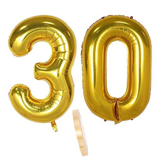 """2 Luftballons Zahl 30 Gold , 40\"""" Aufblasbar Helium Folienballon Zahlen Ballons Figuren,Nummer Riesen Folie Luftballon für Junge Geburtstag Party Dekoration, Valentinstag, Abschlussball (xxxl 100cm)"""