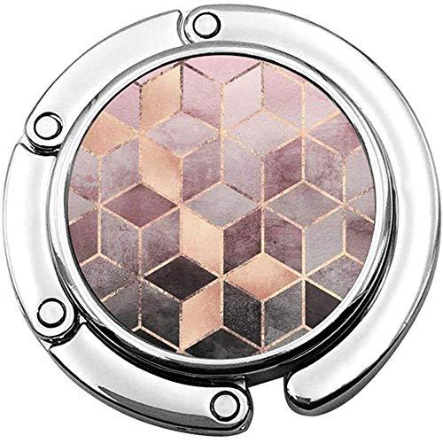 Pink Grey Gradient Cubes Faltbare Damenhandtasche Tischhalter Schreibtisch Geldbörse Hakenhalter