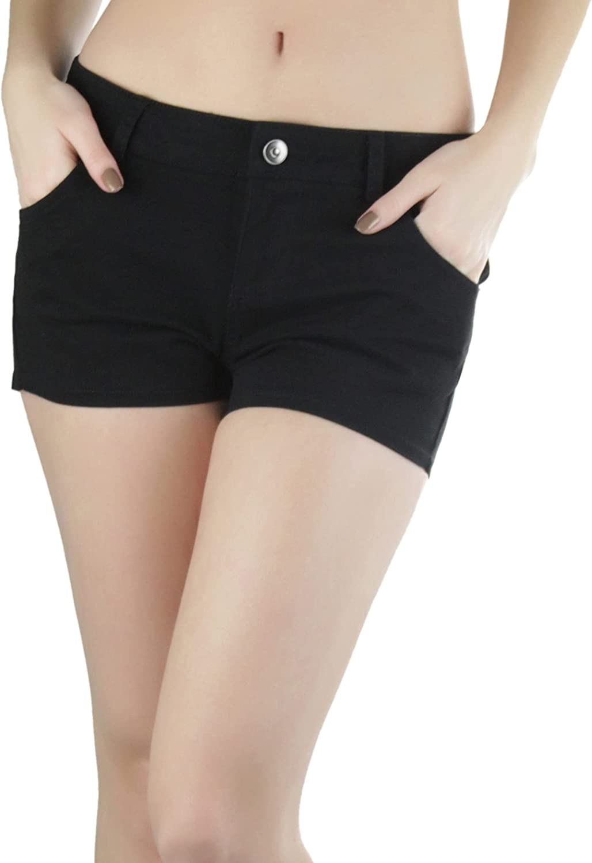 ToBeInStyle Women's 5-Pocket Kansas City Mall Solid Shorts Ponte Mesa Mall Print