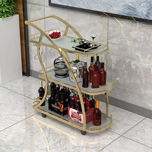 Europäische 3-Tier-mobilen Speisewagen Hotel Trolley Eisenüberzug Gehärtetem Glas Weinwagen Mit Lock Roller Multifunktions-Service Auto Arc Design
