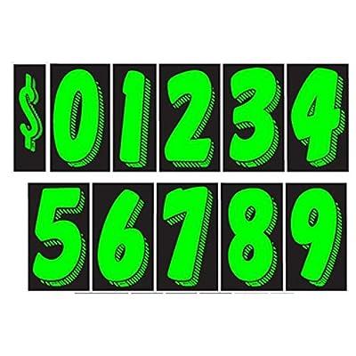 7 1/2 Green Chartreuse Pricing Numbers for Car Dealers 11 Dozen (Starter Set)