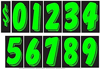 7 1/2 Vinyl Number Decals 11 Dozen Car Lot Windshield Pricing Stickers (7 1/2 inch, Chartreuse)