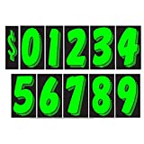 7 1/2 Vinyl Number Decals 13 Dozen Car Lot Windshield Pricing Stickers (Chartreuse)