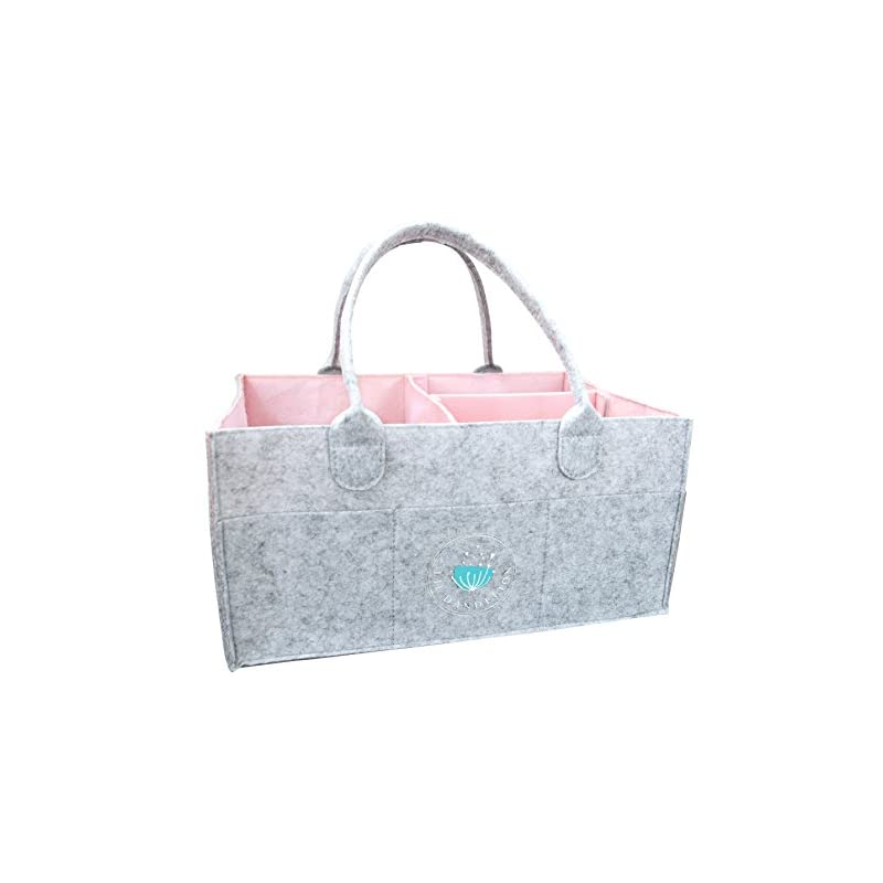 crib bedding and baby bedding baby diaper caddy organizer pink for changing table car - baby shower gift basket for girls, nursery storage bin, neutral nursery essential baby gift registry, car travel tote