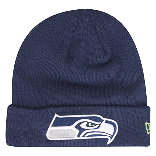 New Era Seattle Seahawks Beanie Team Essential Cuff Navy - One-Size