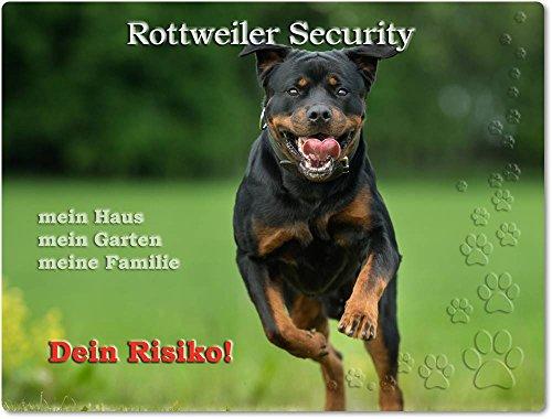 Merchandise for Fans Warnschild - Schild aus Aluminium 20x30cm - Motiv: Rottweiler Security (01)
