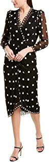 Rebecca Taylor Womens 419237D246 Long Sleeve Dot Embroidered Vneck Midi Dress Long Sleeve Cocktail Dress - Black