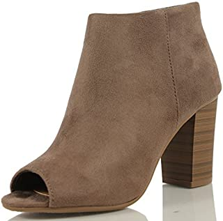 Delicious Women's Open Toe Faux Suede Stacked Heel Ankle Bootie