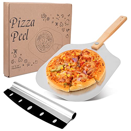 Viesap Pala Para Pizza, 30.5x59.5CM Pala Pizza Set, Pala Pizza Plegable, Pala de Pizza de Aluminio con Mango de Madera, Palas Para Pizzas Profesional, XXL Cortador de Pizza, Para Hornear Pizza, Pan.