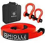 """Miolle Heavy Duty Tow Strap 2""""x20'- 20990 lbs MBS (Lab Tested) Recovery Strap Kit Includes Tow Rope, 2 Shackles 5/8 MBS- 28640LBS, Storage Case"""