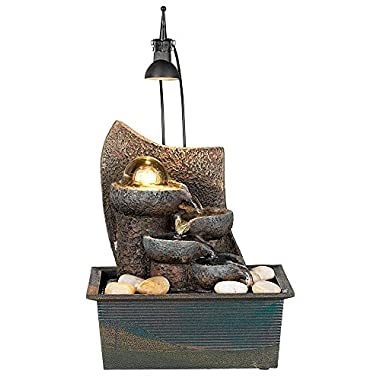 Faux Stone 10  High LED Table Fountain with Crystal Accent
