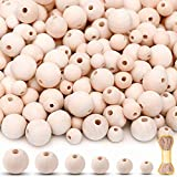 MaZeeB 500 Pieces Wooden Beads for Crafts with Jute Twine, 6 Sizes Assorted Unfinished Wood Beads for Garland, Farmhouse Decor, Jewelry Making, and DIY Crafting, 8mm 10mm 12mm 14mm 16mm 20mm