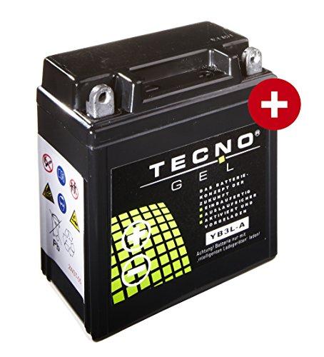TECNO-GEL Motorrad-Batterie/Roller-Batterie YB3L-A, 12V Gel-Batterie 3Ah, 98x56x109 mm inkl. Pfand
