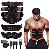 HAIJIXING Abs Trainer Abdominal Belt, EMS Muscle Stimulator with LCD Display & USB Rechargeable,Ab Belt Toning Gym Workout Machine For Men & Women