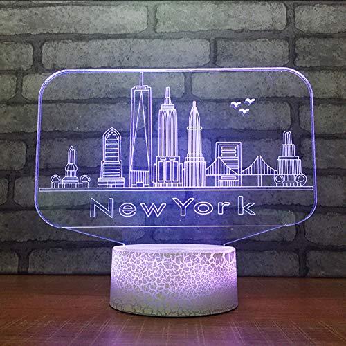 Mbambm 3D Usb 7 Changement De Couleur Nouveauté Toucher Bouton Lampe De Table De Bureau New York City Bâtiments Modélisation Led Ambiance Nuit Lumière Cadeaux