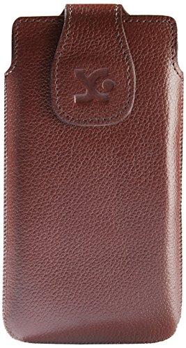 Suncase Echt Ledertasche für das Huawei Ascend G525 Dual-Sim in vollnarbig-braun