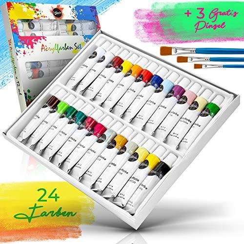 Colardo ® Acrylfarben Set [24x 12ml] Acrylfarben – Inklusive 3 Pinsel – Wasserfeste Acryl Farben für Leinwand, Holz, Papier und Stein – Acrylfarben Set für Kinder und Erwachsene