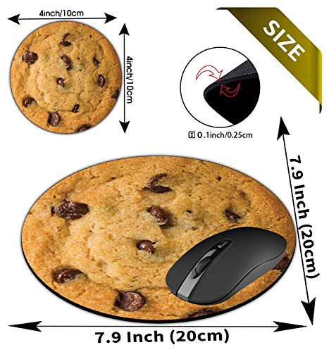 Round Mouse Pad and Coasters Set, Giant Chocolate Chip Cookie Mousepad, Anti Slip Rubber Round Mousepads Desktop Notebook Mouse Mat for Working and Gaming Photo #3