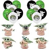 Star War Decorations - Tomicy Star War Baby Yoda fiesta temática Mini figuras Set Cake Topper Party Supplies Cupcake Figurine Party y Baby Yoda Balloon Set para niños Decoraciones