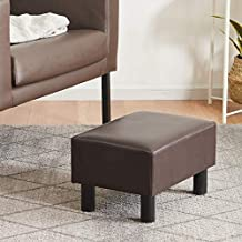 YOUDENOVA 16 inches Footstool Ottoman with Stable Wooden Legs, Small Footrest Under Desk, Faux Leather Brown Step Stool Padded Seat, Support 350lbs