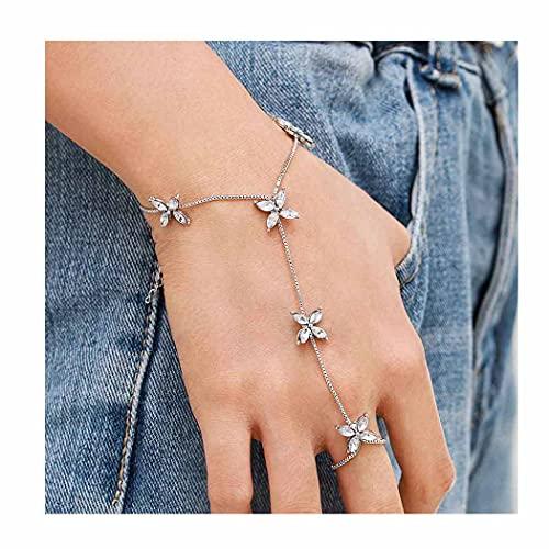 Fairvir - Braccialetto con anelli a forma di fiore, in argento, con catena a mano e strass, ideale per donne e ragazze