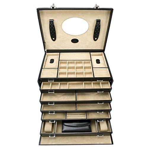 Windrose Merino Schmuckkoffer 6 Etagen mit integrierter Schmucktasche 37 cm schwarz