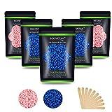 Hard Wax Beans 17.5Oz, Hair Removal Body European Brazilian Pearl Waxing Beans For Women Men Include 10 Waxing Spatulas For Bikini, Eyebrow, Face, Armpit 5 Packs