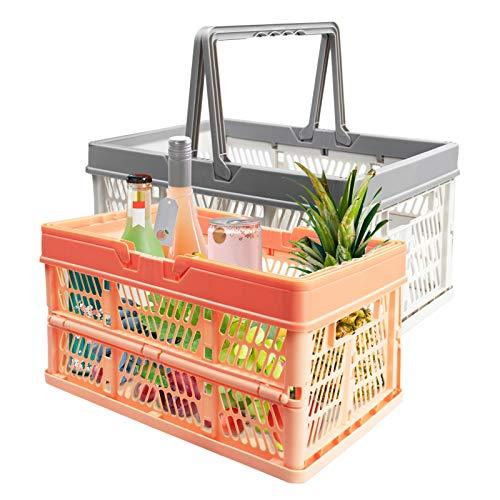 2 × 10L Klappbox Klein mit Henkel, EsLuker.ly Zusammenklappbaren Einkaufskorb Klappbar & Stapelbar Aufbewahrungskorb Tragbar Plastikkiste Organizer (Orange+Grau)
