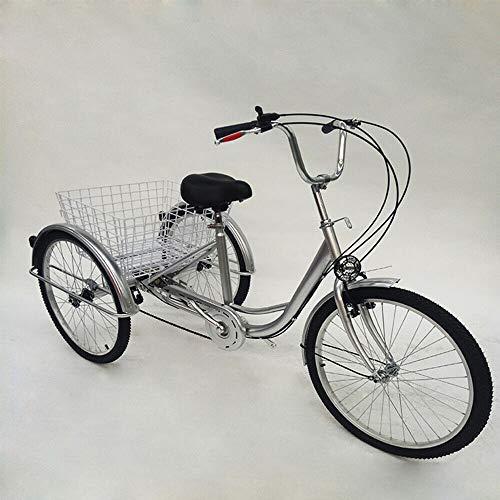 BTdahong Silber Senioren Dreirad für Erwachsene 24 Zoll 6 Gang Fahrrad für Shopping Lastenfahrrad Verstellbarer Lenker mit Korb + Lampe