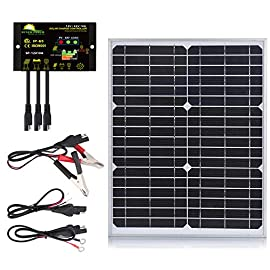 Suner power 10w 20w 30w 50w solar panel kit + 10a photocell waterproof charge controller+ sae connection cable kis 1 ideal solar power kit for variety of off grid applications including shed, cabin, gate opener, etc where 12v batteries is used as well as charge and maintain cars, rvs, boats, trailer batteries. Intelligent solar charge controller with optimized charging algorithm and three-stage charge make the system work more efficient, full protections prevent battery from overcharge and over discharge, over voltage, short circuit. Photocell control & work time setting - turn on the loads in dusk and turn off in dawn without manual operation, 1 to 13 working hours setting according to personal requirements, practical and useful.