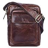 STILORD 'Jannis' Leder Umhängetasche Männer klein Vintage Messenger Bag Herren-Tasche Tablettasche für 9.7 Zoll iPad Schultertasche aus echtem Leder, Farbe:schokoladen - braun