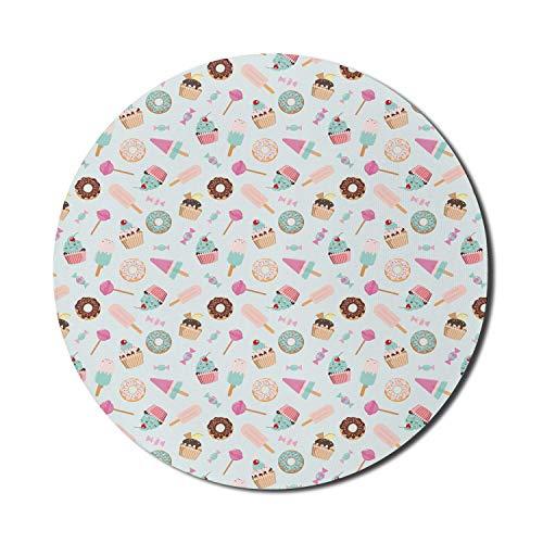 Runde Mausmatte, Schokoladen-Mauspad für Computer, Donuts Cupcakes Lutscher Bonbons, die die Illustration wiederholen, rundes, rutschfestes Gummi-Mousepad mit moderner Basis, Pink Blush Mousepad