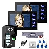 HBHYQ Touch Key 7-Zoll-TFT-Monitore 2 Fingerabdruckerkennung Video-Türsprechanlage...