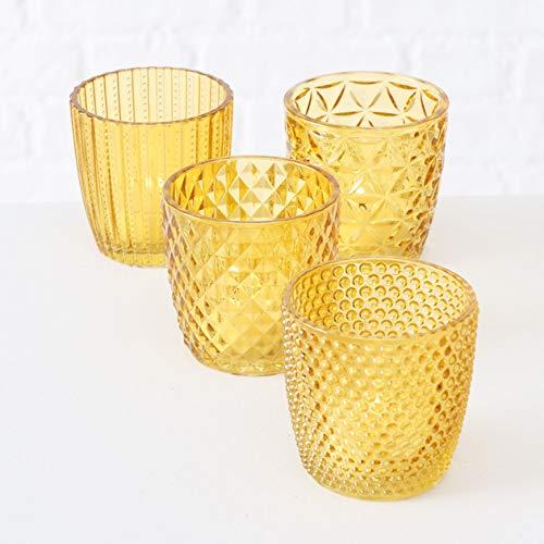 Boltze Teelichthalter 4er Set Teelichtgläser Deko Windlicht Marilu Gelb 4X Glas