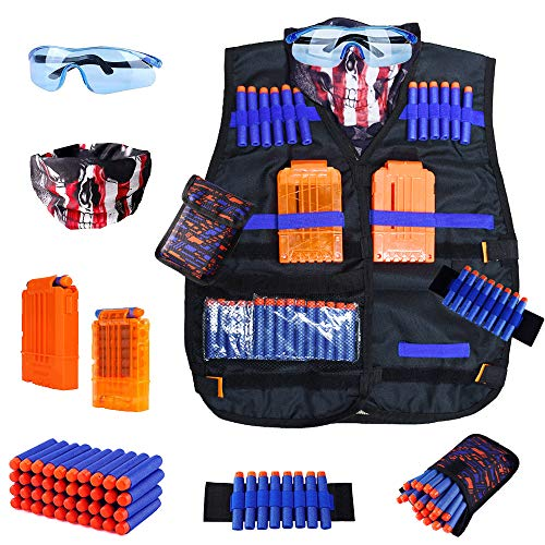 Kids Tactical Vest Kit for Nerf Guns N-Strike Elite Series with 40 Bullets Refill Darts, 2 Reload Clips, Dart Pouch, Tactical Masks, Hand Wrist Band and Protective Glasses Nerf Vest for Boys