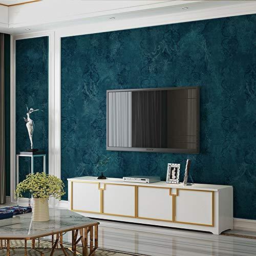 HOLIKE Blaue Tapete Retro Meliert American Plain Farbe Stereoskopische Prägung Industrial Wind Wohnzimmer Restaurant Schlafzimmer Hintergrund Tapeten,Peacockblue