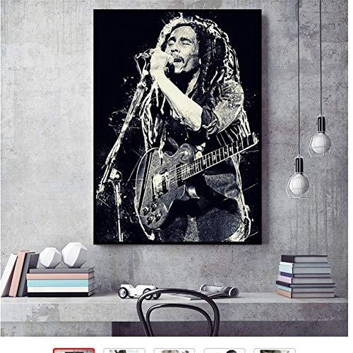 Póster de pintura de estrella de Bob Marley de música Reggae, lienzo impreso, imagen artística de pared para decoración de la habitación del hogar, 60x80 cm sin marco