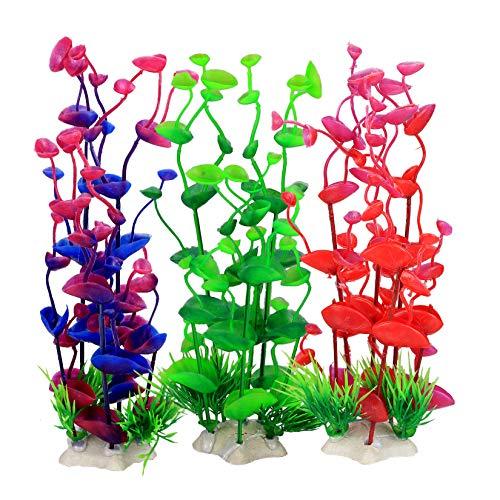 3 Pcs Aquarium Artificial Plants, Plastic Aquatic Plants Ornaments Decorations, 9.4 Inch Fish Tank Aquarium Water Plants Accessories