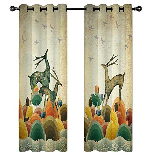 YUNSW Elk Cortinas Perforadas De Impresión Digital 3D, Cortinas Opacas para Sala De Estar, Dormitorio, Jardín Y Cocina, 1 Par (2 Piezas Separadas del Medio)