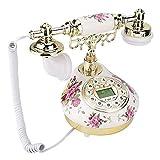 Pokerty Teléfono Vintage, teléfono Antiguo de imitación Retro Teléfono Antiguo Cuerpo de cerámica Luz de Fondo Manos Libres para decoración del hogar Uso de la Oficina
