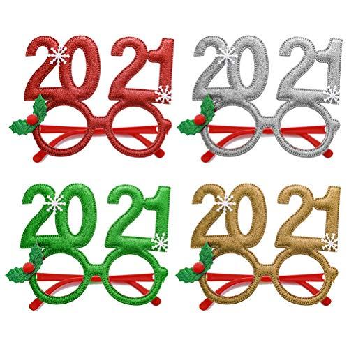 Mnsun 4 Piezas de Navidad Lindo Dibujos Animados Marcos de anteojos relucientes sin Lentes para niños Adultos decoración de Fiesta de Navidad, 2021 Gafas Digitales