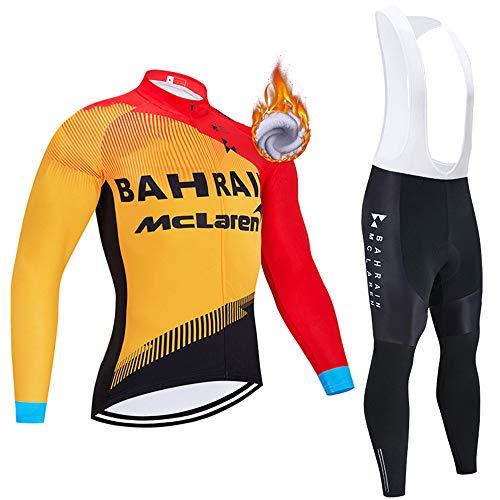 Inverno Completo Ciclismo Uomo, Calda Pile Termico Abbigliamento Ciclismo Set Manica Lunga con Pantaloni Lunghi Imbottiti Traspiranti per MTB Ciclista