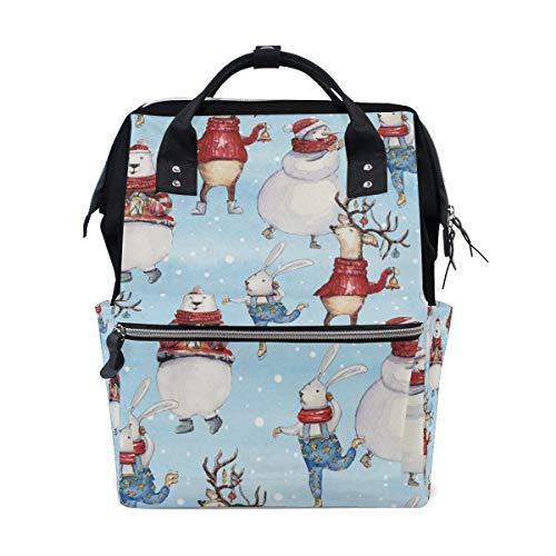 TIZORAX Mochila de pañales de conejo de oso de Navidad, gran capacidad, bolsa de pañales multifunción, mochila de viaje para el cuidado del bebé