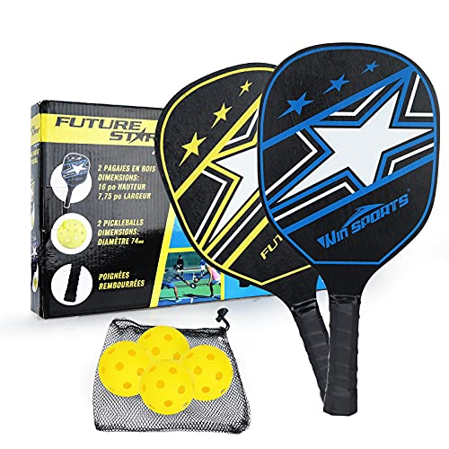 WIn SPORTS Wooden Pickleball Paddles Set 2 Beginner Racket,Pickle Ball Paddles with 2 Paddles,4 Balls and 1 Carry Bag,Durable and Classic (Black Version)