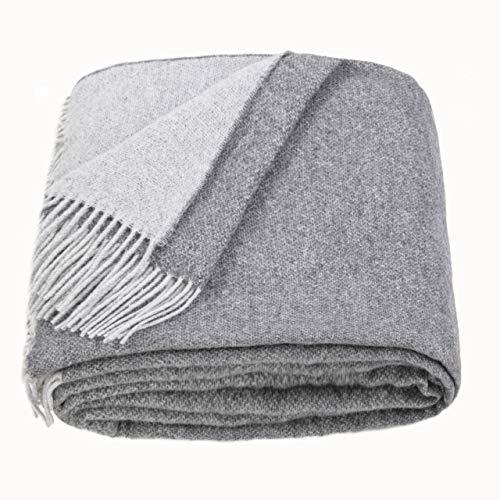 LoveYouHome Doppelseitige Wolle Merinowolle Decke-Kuscheldecke Extra groß Überwurf Merino (140 cm X 200 cm - Tief-Grau)