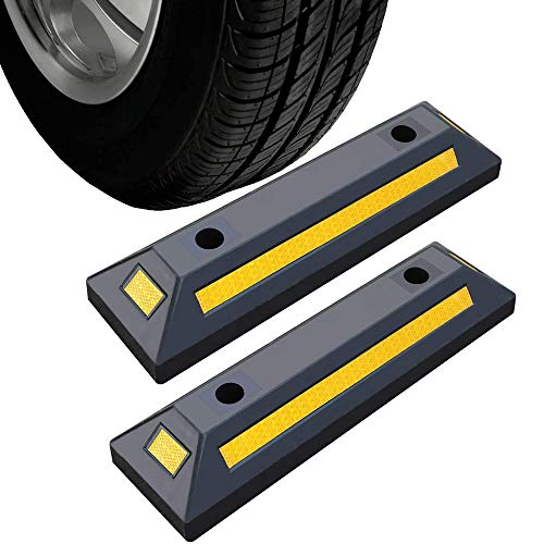 """2 Pack Rubber Parking Guide Blocks Heavy Duty Wheel Stop Stoppers for Car Garage Parks Professional Grade Parking Rubber Curb w/Yellow Refective Stripes for Truck RV Trailer 21.25""""(L)x5.7""""(W)x3.54""""(H)"""