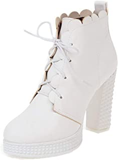 VogueZone009 Women's Solid Pu High-Heels Lace-Up Round-Toe Boots, CCAXP128143