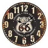 linoows Route 66 Wanduhr im Retrostil, Biker Uhr, Kneipen Uhr US Route 66