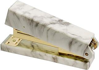 MultiBey Gold Metal Stapler Marble White Cover Non-Slip Base Binding Staplers Desktop Office Supplies Stationery with Staples